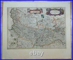 Picardie France 1664 Willem Blaeu Unusual Large Antique Engraved Map 17th Cent