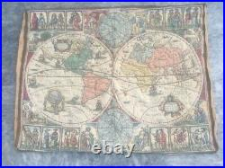 Pictorial Tapestry Antique French Rug Vintage Wall Hanging Decor World Map 3x3