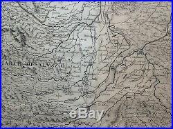 Piemont Italy 1691 De Rossi- Da Vignola Large Unusual Antique Map 17th Century