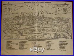 Poitiers France 1574 Sebastian Münster Unusual Antique Original Woodcut View