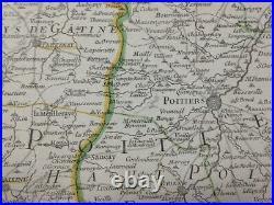 Poitou Aunis France 1782 Hubert Jaillot Large Antique Map 18th Century