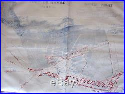 Port Le Havre France Normandy Engineering Project 1884 Poudavigne rare map