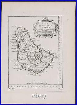 Prevost Map of Barbados. 504, 1746 Voyages Original Engraving