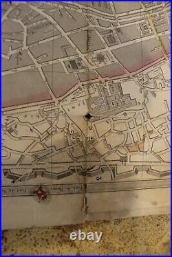 RARE 1847 pocket map Paris France of military fortifications around Paris pocket