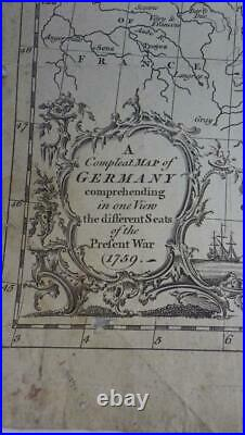 RARE! Antique Map GERMANY Different Seats of the Present War 1759 7 Years War