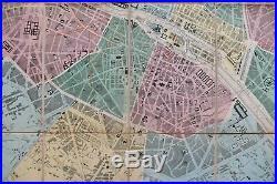 RARE Antique Map Original 1867 Ledot Folding Color Map of Paris, France