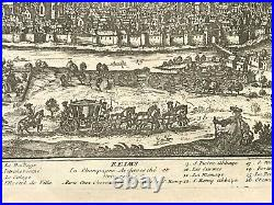 REIMS 1740 CHAMPAGNE FRANCE by CHEREAU ANTIQUE ENGRAVED VIEW 18TH CENTURY