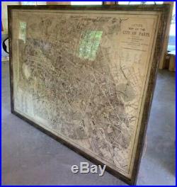 RESTORATION HARDWARE Large Framed Antique Map of Paris France 5x7