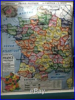 RETRO Map FRANCE 1954 Linen Mounted Hanging Pull-down roller Suitable to Frame