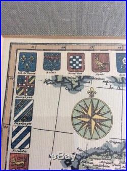RICHARD DE BAS 1721 Framed Map Old France Handmade Paper Regional Crests 19X14