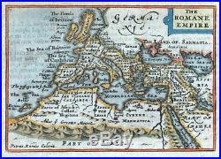 ROMAN EMPIRE, Van Den Keere, Miniature Speed original antique map 1675