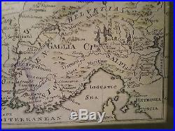 Rare 1747 Map of Ancient Gaul (Gallia) or France hand colored original