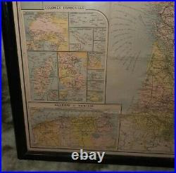 Rare Framed Paris Nouvelle Carte 1920s/30s Framed Paris France Map