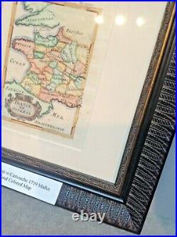 Rare Framed original Handcoloured Engraved Antique map of France Mallet -1719