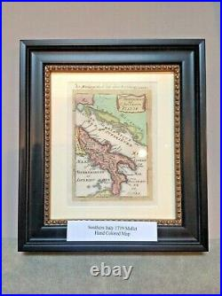Rare Framed original Handcoloured Engraved Antique map of Italy by Mallet -1719