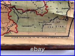 Rare Philips' Historical Wall Atlas Medieval England & England In France