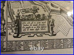 Reproduction French Framed engraving map of Paris 15th century 21 x 17 inches