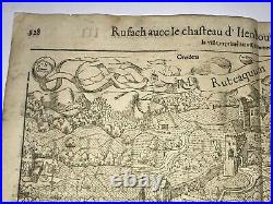 Rouffach France Castle Isenbourg 1552 Cosmography Of Munster Large Antique View