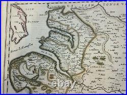 Saintonge France 1650 Nicolas Sanson Large Antique Engraved Map 17th Century