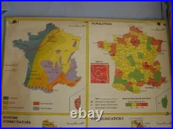 School class double-sided map of France 90s