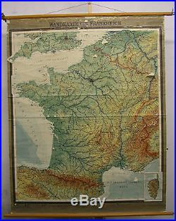 Schulwandkarte Wall Map School Map Card France La France F&b 1963 136x170
