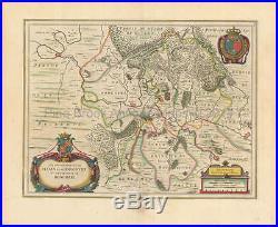 Sedan Charleville-Mezieres France Antique Map Blaeu 1650 Original French Decor