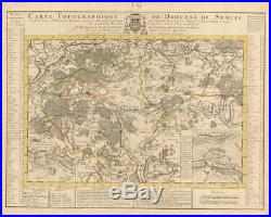 Senlis Chantilly France Vintage Map Covens Mortier 1745 Original