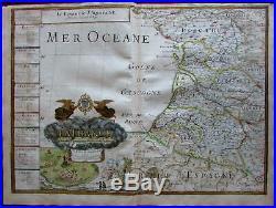 Southern France Le Royaume d' Aquitaine 1681 Du Val folio larrge rare map