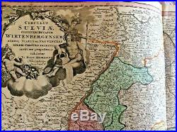 Swabia Germany Rhine River France Switzerland 1720 Homann Antique Engraved Map