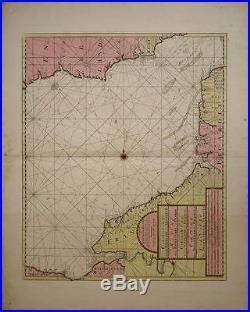 THE CHANNELL BETWEXT ENGLAND ET FRANCE, ANTIQUE CHART VAN KEULEN c1666. RARE