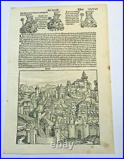 Troyes France 1497 Chronicle Of Nuremberg Hartmann Schedel Original