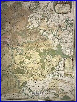 VERY LARGE WALL MAP OF PARIS & ENVIRONS (FRANCE) 1722 by DANET 18TH CENTURY