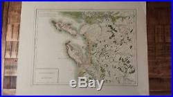VERY NICE, ANTIQUE Hand Colored map of Aunis, France P. Tardieu, c. 1790