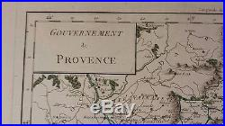 VERY NICE, ANTIQUE Hand Colored map of Provence, France P. Tardieu, c. 1790