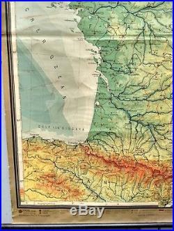 VINTAGE School map of France hanging wall chart Freytag & Berndt Physical