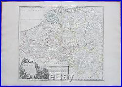 Vaugondy Large Map of Belgium Netherlands France Flandria Luxemburg 1750