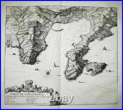 Villefranche-sur-Mer Alpes-Maritimes France gravure map carte Karte Blaeu 1726