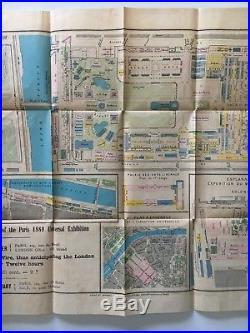 Vintage 1889 Paris Exposition Fair Map Plan Complet de L'Exposition Galignani