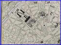 Vintage 1900 PARIS FRANCE Map 11.5x14.5 Old Antique EIFFEL TOWER MAPZ