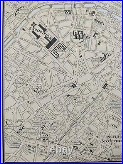 Vintage 1900 PARIS FRANCE Map 11x14 Old Antique Original EIFFEL TOWER LOUVRE