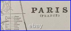 Vintage 1900 PARIS FRANCE Map 22x14 Old Antique Original LOUVRE NOTRE DAME