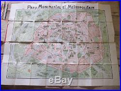 Vintage 1920s Paris Monumental Metropolitan Map Art Nouveau Maps
