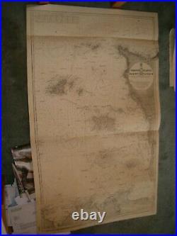 Vintage Admiralty Chart 2669 CHANNEL ISLANDS & ADJACENT COAST OF FRANCE 1913 edn