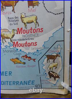 Vintage French School Map from 60s/70s double sided Farming & Fishing Navigable