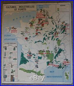 Vintage French School Map from 60s/70s double sided France's agriculture