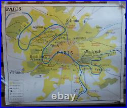 Vintage French School Map from 60s/70s double sided Paris & Parisian Region