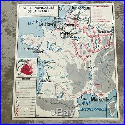 Vintage MID CENTURY French School Map France ECONOMIC BREEDING FISHING 18121917