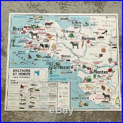 Vintage MID CENTURY French School Map France ECONOMIC PRODUCTS BREST 18121911