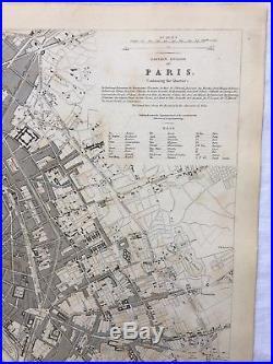 Vintage Original 1845 Topographic Map & Drawings'Paris' Capital City of France