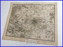 Vintage Original 1845 Topographic Map & Drawings'The Environs of Paris' City